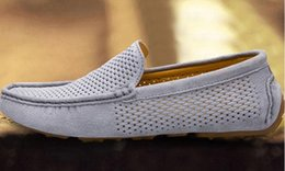 Wholesale Drivers Shoes - Men's shoes Summer Men Loafers New Casual Shoes Slip On Fashion Drivers Loafer Genuine Leather Moccasins European shoe size 38-44