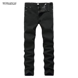 Wholesale Wholesale Mens Skinny Jeans - Wholesale- MORUANCLE Fashion Mens Black Plain Jeans Pants Slim Fit Stretch Solid Denim Joggers Brand Designer JEans Trousers For Male E0275