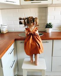 Wholesale Toddler Girls Suspenders - INS Baby Girls dresses 2017 summer new children Pumpkin color falbala suspender dress toddler kids lace-up bows princess dress A0456