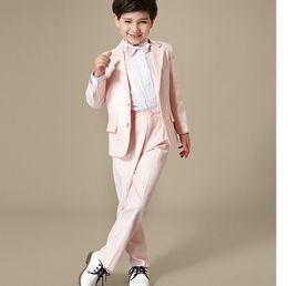 Wholesale Little Boys Pinstripe - hot sale little boy suits for wedding suits black handsome Children suit marriage wedding dress boy suits two-piece