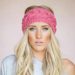 Wholesale Turban Head Wrap Women - 23 Colors Knitted Turban Headbands For Women Winter Warm Crochet Headband Head Wrap Wide Ear Warmer Hairband Hair Accessories