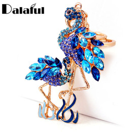 Wholesale Feather Birds - Delicate Double Flamingo Bird Key Chains Rings Holder For Car Crystal Rhinestone Bag Pendant For Women Keyrings KeyChains K277