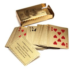 Wholesale Certified Pure K Carat Novelty Gold Foil Plated Poker Playing Cards w Cards Jokers Gift Table Games