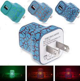 2019 cargos domiciliarios Se enciende el cargador de enchufe de los EEUU 5V / 1A LED USB para el cargador de la carga de la pared del CA del viaje del hogar Adaptador de corriente agrietado elegante cargos domiciliarios baratos