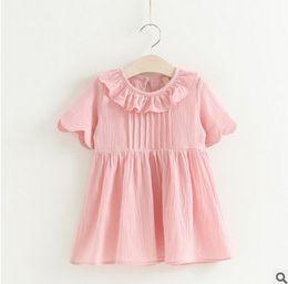 Wholesale Dreses Girl Kids - Kids dreses 2017 summer new girls falbala collar lace sleeve dress fresh style children princess dress kids clothes T1664 pink yellow purple