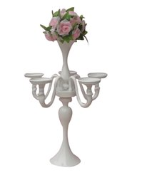 Wholesale Cheap Candle Decorations - beautiful Tall Wedding Cheap Silver Candelabra With Flower Holder Centerpiece Candle Holders for wedding table decoration centerpieces LLFA