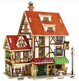Wholesale Christmas House Model - 3D Wood Puzzle DIY Model Kids Toy France French Style Coffee House Puzzle,puzzle 3d building,wooden puzzles