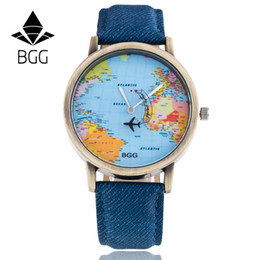 Wholesale Glass Airplane - Wholesale- BGG brand New Fashion Women Casual Watches unisex Cartoon airplane Leather Dress wristwatches ladies Quartz Watch clock hours