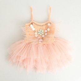 Wholesale Knee Length Glitter Dresses - Girls chirstmas dresses kids feather sequins tiered gauze suspender princess dress glitter felt child rhinestone sequins dance dress T0284