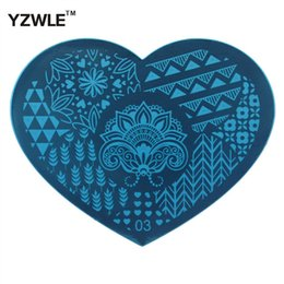 Wholesale heart shape nail art - Wholesale- 1Pcs Heart-Shaped Stamping Nail Art Image Plate, 7*5cm Stainless Steel Template Polish Manicure Stencil Tools (Xin-03)