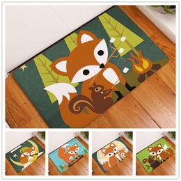 Wholesale Europe Owl - New 11 Styles Cartoon Animal Pattern Cute Fox Owl Abstract Painting Carpets Anti-Slip Floor Mat Outdoor Rugs Front Door Mats 40x60cm 50x80cm