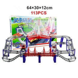 Wholesale Kids Rail Cars - 113PCS Triple-loop Interchangeable tracks Rail Car Set DIY Baby Toy Model Electronic rope bridge Multilayer Kids Toys