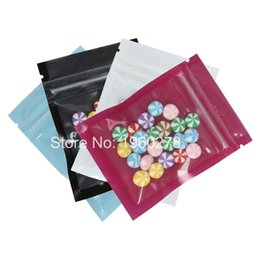 Wholesale Zip Bag Food - 6.5x9cm (2.5x3.5in) Small Size Reclosable Flat Packing Pouches Blue White Purple Black Mylar Zip Lock Packaging Bags 100pcs lot