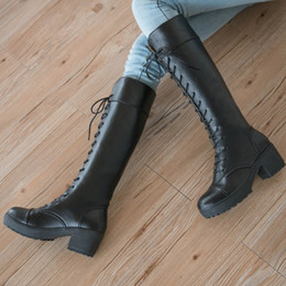 Wholesale Thick Platform Work Shoe - Sexy Snow Boots 2017 Knee High Boots Women Lace Up Buckle Thick Platform Winter Shoes