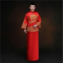 Wholesale Men Red Tang Suit - 2018 New Red Long-sleeved Groom Toast Clothing Chinese Men's Costume Improved Male Tang Suit Wedding Traditional Gown Dress