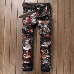 Wholesale Punk Coats - Wholesale-Designer Brand Printed Coated Jeans Floral Slim Fit American and European Style Night Club Punk Pants Trousers For Men