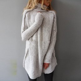 Wholesale Women S Pull Sweaters - Wholesale- Fashion Autumn Sweater 2016 Women Knitted Pullovers Turtle Neck Long Sleeve Loose Knitwear Casual Solid Jumper Pull Femme