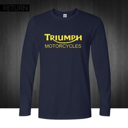 Wholesale Motorcycle Triumph - Wholesale- Classic TRIUMPH MOTORCYCLES T Shirt Men 100% Cotton printed long Sleeve O neck Good Quality T-shirt Top Tees New Autumn