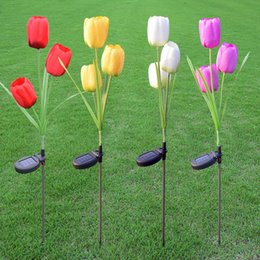 Wholesale Tulips Fake Flowers - Light Garden Solar Led Lamp Solar Power Fake Flower Lamps Tulip Shape For Outdoor Yard Lawns Balcony Path Party Decoration One Headed