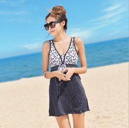Wholesale Black Swimsuit One Piece Small - The new swimsuit small chest gather sexy thin cover belly Siamese Conservative Hot Spring large size Korean skirt-style swimsuit