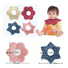 Wholesale Snap Swivels Wholesale - Wholesale- Baby Bibs Cotton Flower Star Babador Four Layer Waterproof Slobber Towel Baby Bib Swivel Snap Octagonal Circular Rice Bag