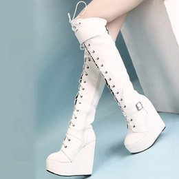 Wholesale Thigh High White Lace Boots - Womens lace up over the knee thigh knight boots platform wedge Super high heels shoes Warm Winter 14CM zxy1138