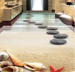 Wholesale Soundproof Floor - 3d floor murals Customized 3d stereoscopic wallpaper Beach starfish shell stone self adhesive 3d flooring wallpaper mural