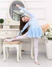 Wholesale Child Leotard Skirt - Ballet Gymnastics Leotard Child Lace Long Sleeve Ballet Dancing Skirt Elastic Basis Ballet Practice Costume Dance Dress