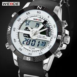 Wholesale Digital Watch Weide - Hot Sale WEIDE Luxury Brand Men Sports Watch 3ATM Waterproof Multifunction Quartz Digital LED Backlight Military Watches