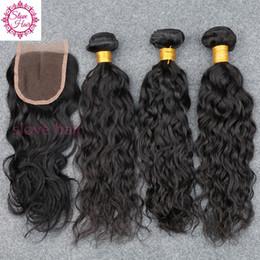 2019 бренды человеческого волоса 4шт/много Малайзии волна воды 3 связки с закрытием 8А Малайзийские Виргинские волосы мокрые и волнистые человеческих волос