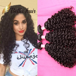 Wholesale Indian Human Hair Raw - 3pcs lot 10A Deep Curly Brazilian Hair Bundle Double Drown Peruvian Curly Wave Hair Weave Unprocessed Raw Indian Human Hair Extension Bella