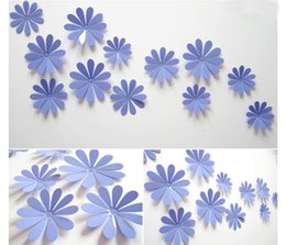 Wholesale Colors Television - 12Pcs Home Decoration 3D Flowers Wall Sticker Mariposas Docors Arte DIY Decoraciones 11 colors free shipping