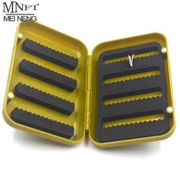 Wholesale Fly Box Case - Wholesale- MNFT 1PCS ABS Plastic Foam Fly Fishing Flies Lure Box Fly Tying Artificial Insect Bait Hook Case Boxes Fish Accessories L S