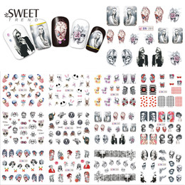 Wholesale Halloween Sticker Nails - Wholesale- 1Sheet Halloween Nail Art Water Transfer Stickers Beauty Full Wraps Skull Pattern Nail Tips Decals Manicure Decor BN193-204