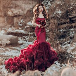 Wholesale clouds shirt - vestido de noiva Mermaid Wedding Dresses 2017 Burgundy Bride Gowns Cloud Ruffles Sweep Train Sweetheart Off Shoulder Wedding Gowns