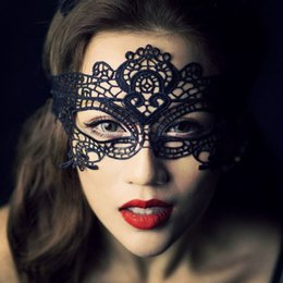 Wholesale Halloween Mask For Eyes - DHL Shipping Masquerade Mask NEW Sexy Female Lace Hollow Flower Party Mask Eye Masquerade Solid Black fox Masks round black Mask Woven
