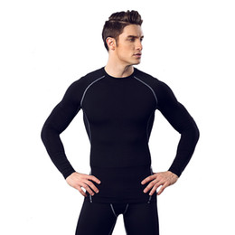 Wholesale Tight Elastic Clothes - Fitness suit men basketball running training clothes elastic compression fast drying sports tights long - sleeved trousers suit