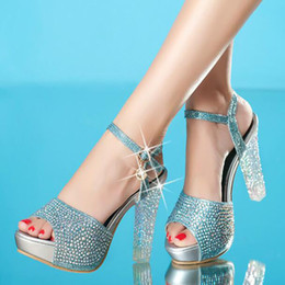 Wholesale Platform Fish Shoes - 2017 Summer New High Heels Sandals Women Shoes Crystal Platform Fish Head Blue Gold Silver Diamond Fashion Female Shoes ZK15
