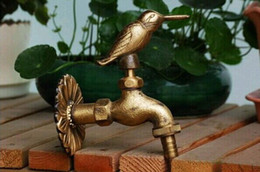 Wholesale Garden Taps - Wholesale- Decorative outdoor faucets Wall mounted brass animal garden Bibcock with rural style antique bronze bird tap