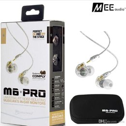 Wholesale Wholesale Pro Audio - MEE Audio M6 PRO Noise Canceling 3.5mm HiFi In-Ear Monitors Earphones with Detachable Cables Sports Wired Headphones 2 Colors DHL Free