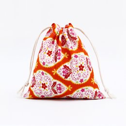 Wholesale String Wedding Dresses - Wholesale Fashion Gift Sacks Bags For Women Wedding Canvas Pouches Print Drawstring Bags Wholesale Free Shipping