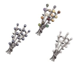 Wholesale Safety Pins Rhinestones - twig branch brooch unusual safety pin style badge antique silver nature stones