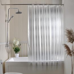 Wholesale Peva Curtain - PEVA Shower Curtains Bath Shower Curtain Grind Arenaceous Translucent Solid Color Europe Mildew Proof Waterproof PEVA Fabric Multiple Sizes