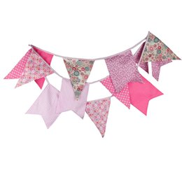 Wholesale Corner Fabric - Wholesale- 12 Flags 3.5m Fashion Pink Five Corner Cotton Fabric Bunting Pennant Flag Banner Garland Baby Shower Outdoor Party Decoration
