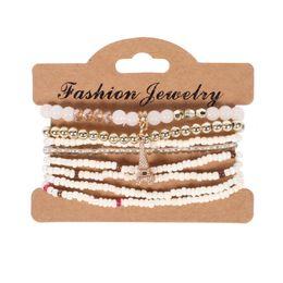 Wholesale Vintage Red Rhinestone Bracelets - 2017 new Fashion Vintage Ethnic multilayer big beads Charm Bracelets Boho Statement Flower Bracelet Bangles for Women Jewelry Free shipping