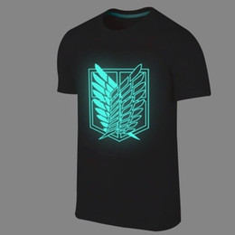 Wholesale Printed Glow - Wholesale- 2017 Summer Japanese Anime Attack on Titan t shirt tops fluorescent t shirt Short Sleeve Cartoon Glow in dark Hip hop t-shirt