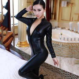 Wholesale Black Tight Jumpsuits - 2017 Women New Sexy Leather Jumpsuit Cosplay Tight Leather Nightclub DS Costumes Leotard Women Clothing Split Pants