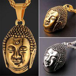 Wholesale Jewelry Buddha Charm - U7 New Blessed Tathagata Buddha Pendant Necklace Stainless Steel Gold Plated Charm Men Women Religious Buddhist Jewelry Accessories GP2478