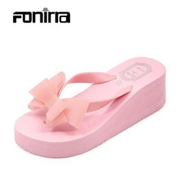 Wholesale wholesale women wedges - Wholesale-2016 Summer Bownot Shoes Women Sandals Sapato Feminino Beach Wedge Flip Flops Women Slipper Shoes Sandalias Mujer 124