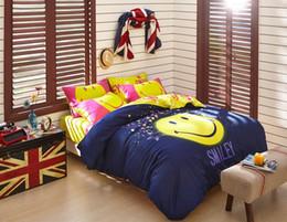 Wholesale Cartoon Bedding Sets For Boys - Wholesale- 100% Cotton Cartoon Emoji Kids Boys Bedding sets 4 Pcs Flat Bed linen sheet Duvet Quilt cover Pillowcases For Gift